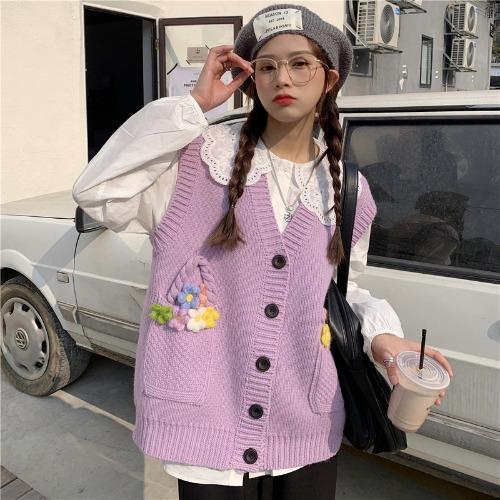 2021新款秋季學院風時尚V領百搭立體裝飾無袖針織馬甲+白色襯衫