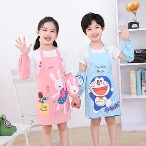 儿童围裙画画罩衣防水小孩厨房女童美术绘画卡通幼儿园男孩带套袖