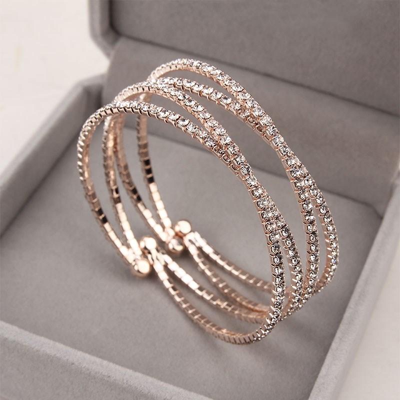 韩版时尚精致18K玫瑰金镶钻多层交叉手链女欧美潮流气质手镯手环