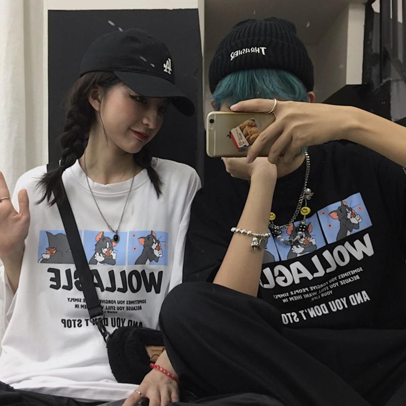 韩国ins潮流复古童趣猫和老鼠印花情侣装宽松短袖t恤女港风上衣夏