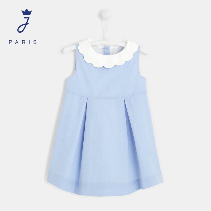 Jacadi Paris/亚卡迪21春夏新女小童时尚花瓣领无袖连衣裙2025940