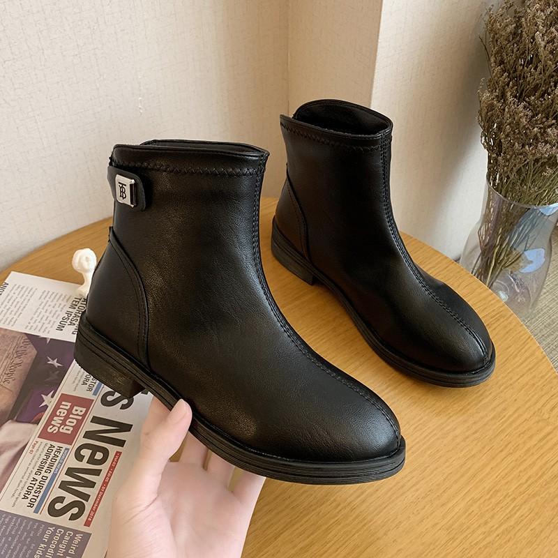鞋子女冬2020新款小跟短靴网红瘦瘦靴黑色百搭皮靴加绒保暖女鞋潮
