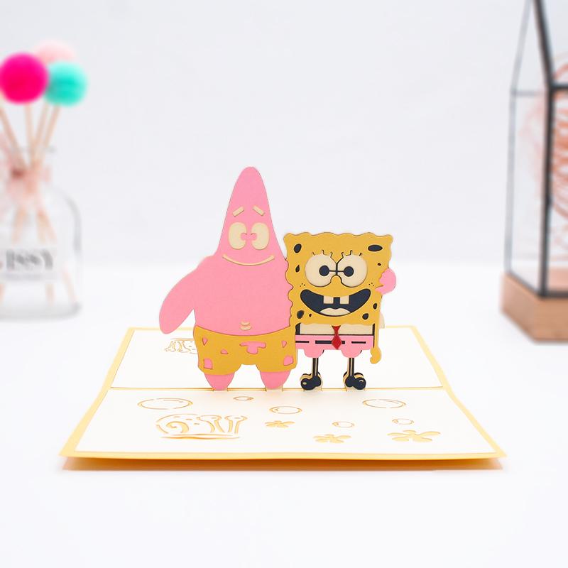 创意可爱立体贺卡 卡通影视 儿童节情人节祝福送礼小卡片3D纸雕卡