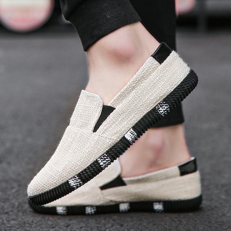 夏季亚麻帆布鞋男韩版休闲鞋男士一脚蹬懒人鞋潮流布鞋透气板鞋子