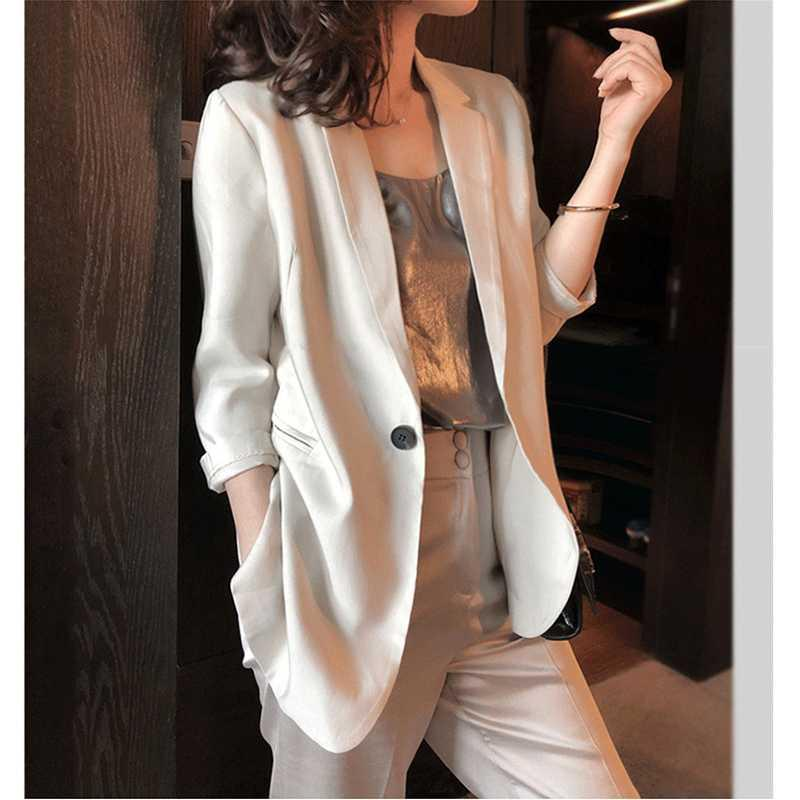 Thin suit coat for womens spring and summer 2020 new professional casual Satin triacetate thin seven point sleeve small suit
