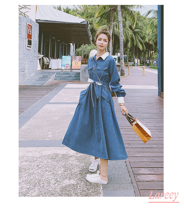 Lareey2021 new French high waist solid medium length skirt retro 9 ancient temperament long skirt shirt long sleeve dress