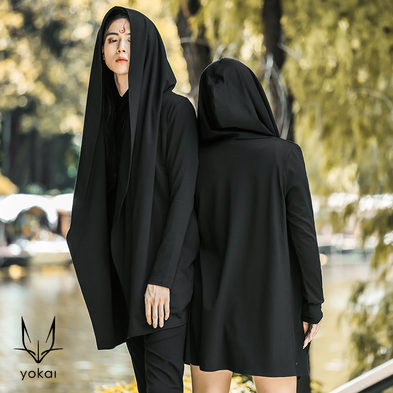 Summer and autumn new men and women couple coat big hat windbreaker dark Department sweater long sleeve European and American Cape Cape fashion