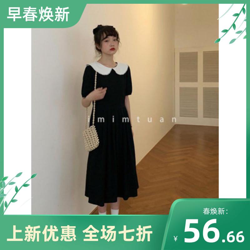陆小团团赫本风典雅复古泡泡袖娃娃领气质棉麻显瘦黑色连衣裙女夏