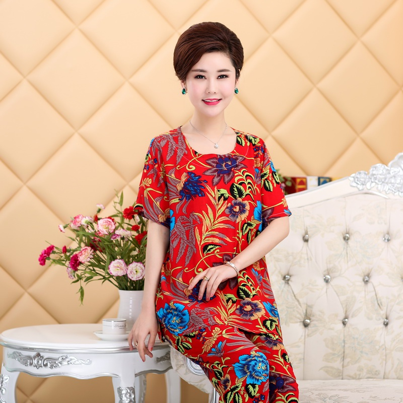 Suit female summer female trousers female middle-aged cotton summer middle-aged and elderly pajamas aunt summer leisure woman