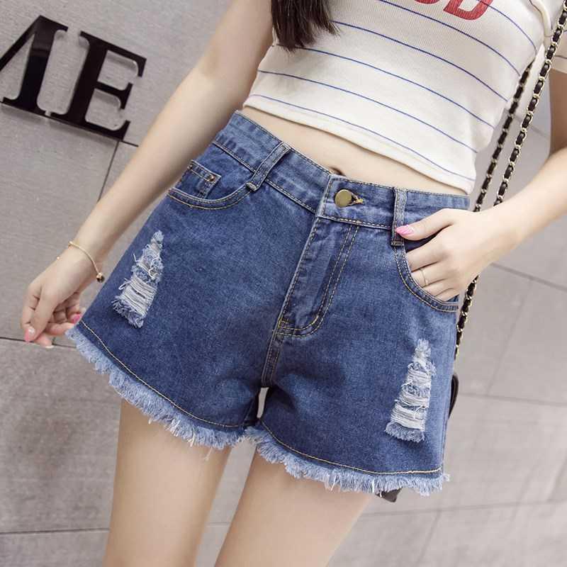 女款短裤女式清新少女破洞女女外穿时薄款牛仔短夏天个性夏装纯色