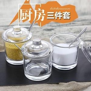 玻璃调料盒家用有盖透明组合装单个带盖厨房用品调味罐套。