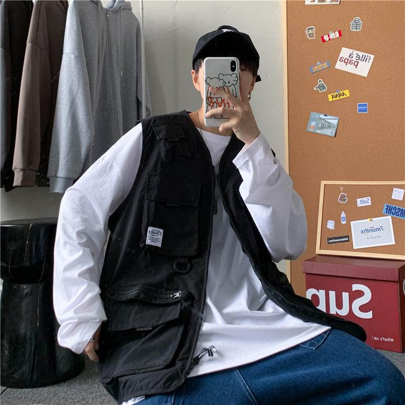 Spring and autumn ins functional tactical vest mens fashion Multi Pocket tooling sleeveless jacket jacket Jacket Vest