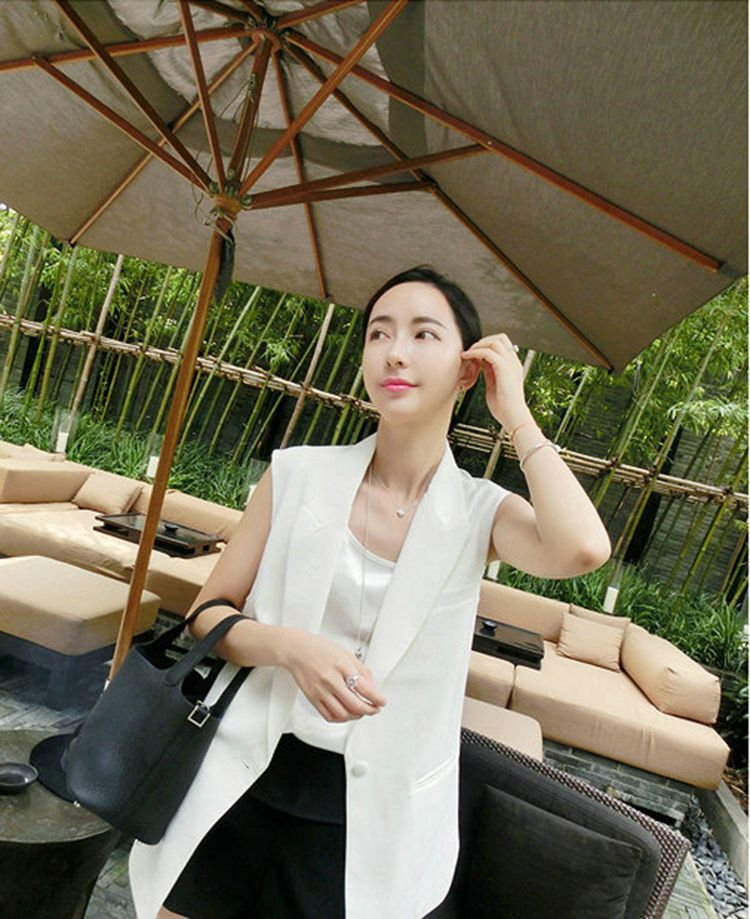 Spring and autumn 2020 new Korean casual medium long suit vest for women summer loose large suit