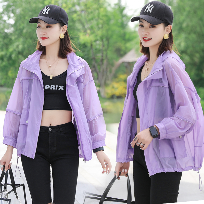Hooded zipper color matching breathable UV proof sunscreen womens jacket spring / summer 2020