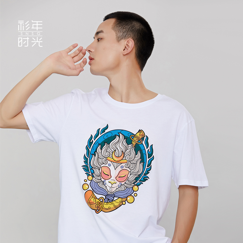 Journey to the West Qitian Monkey King T-shirt for women pure cotton men and women original illustration printing pattern lovers wear