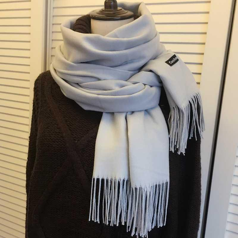 . scarf womens versatile autumn and winter imitation cashmere long shawl neck dual purpose solid color thermal scarf for women 70x20