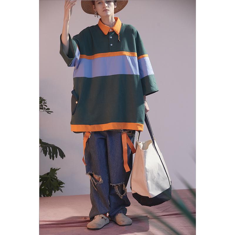 Umamiism 20ss sweet John summer retro outdoor polo shirt with contrasting fabric