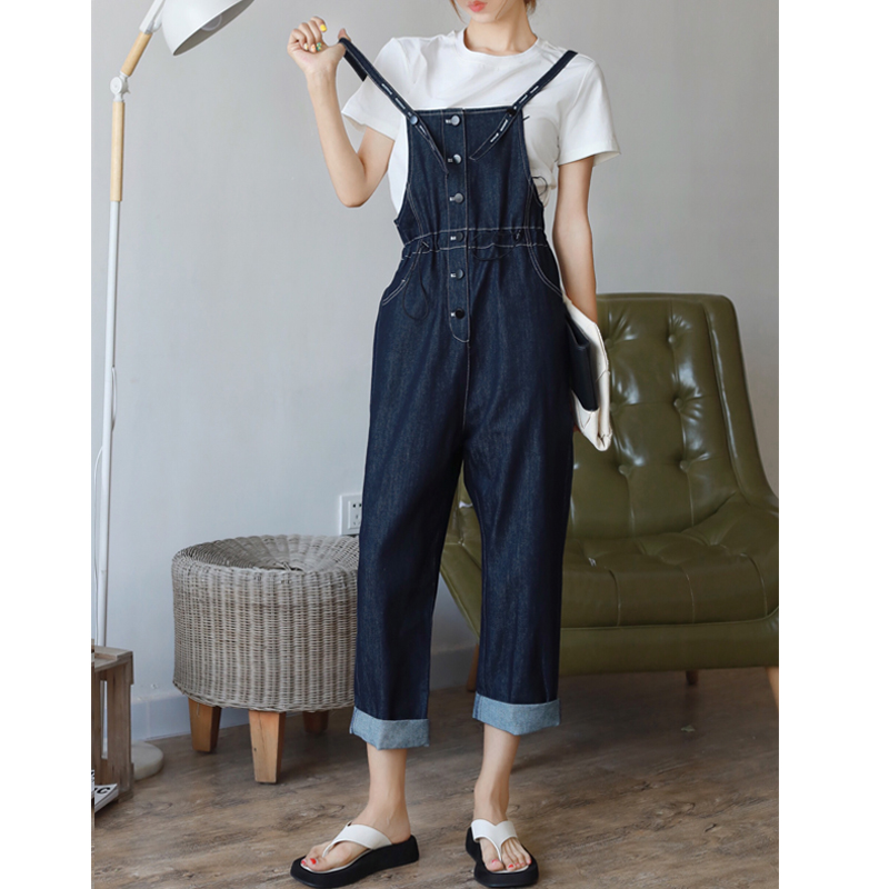 1055 original designer brand womens loose straight casual denim strap pants summer wide leg pants show thin