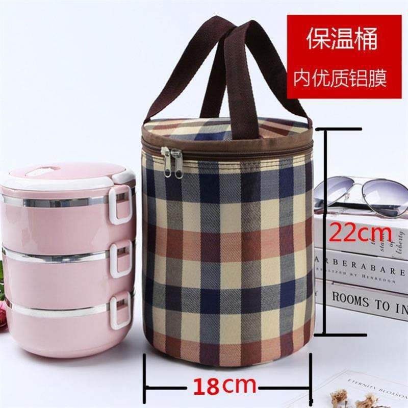 Round aluminum foil lunch box lunch bag thickened heat preservation hand carry rice lovely girl lunch canvas work hand