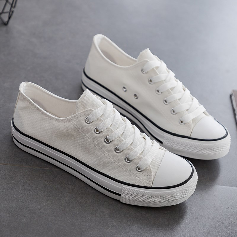 Simple small white simple College Board Shoes female students canvas shoes women slippers fashion low top and low waist