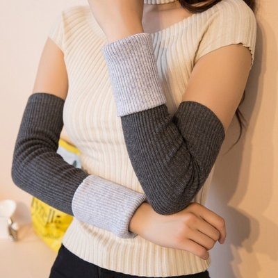 Double layer Plush gloves wool arm sleeve autumn and winter double layer thickened female gloves sleeve knitting wool sleeve protection