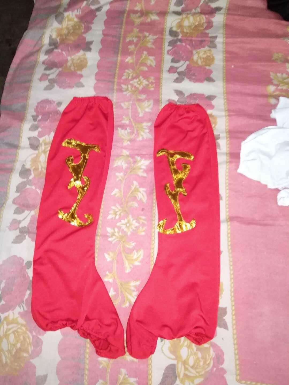舞蹈鞋套蒙古藏族靴套民族女兵军装舞台袜套表演出服长筒红色黑。