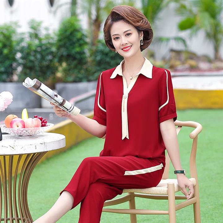 2021 middle-aged womens clothing 4O mother 5O more than a few years old mother 6O summer wear short sleeve pants good