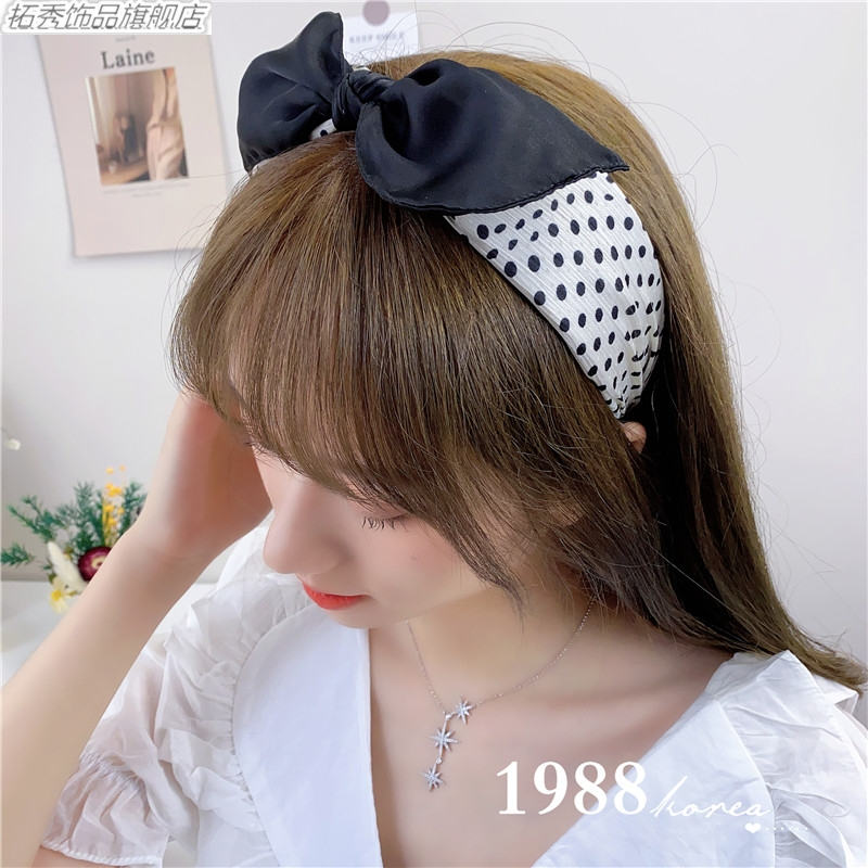Tuoxiu South Koreas same black and white wave point bow hair band with wide edge Hair Band