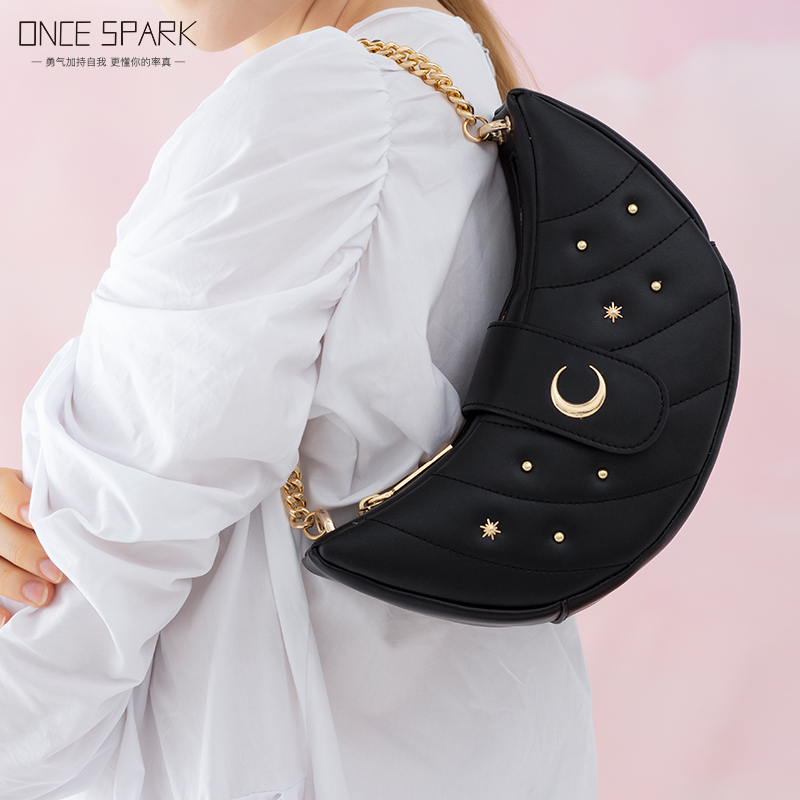 New one shoulder chain bag spring and summer moon tooth bag leather bag small group design womens Bag Messenger Bag simple atmosphere