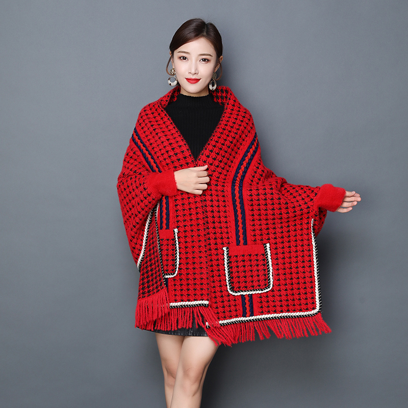 2020 over waist shawl with sleeve womens spring and autumn Cape style coat