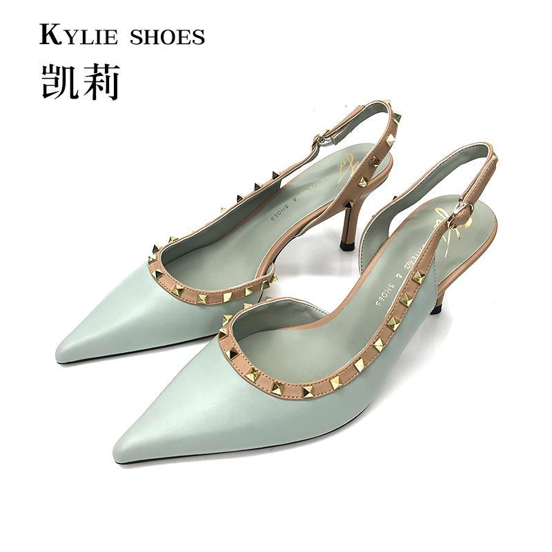 【凯莉女鞋】专柜!华家同款!铆钉凉鞋后绊带尖头鞋不掉跟