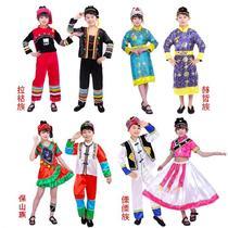 儿童l表演服装公主裙民族女童绿男童畲族土家族培训新款小学生藏