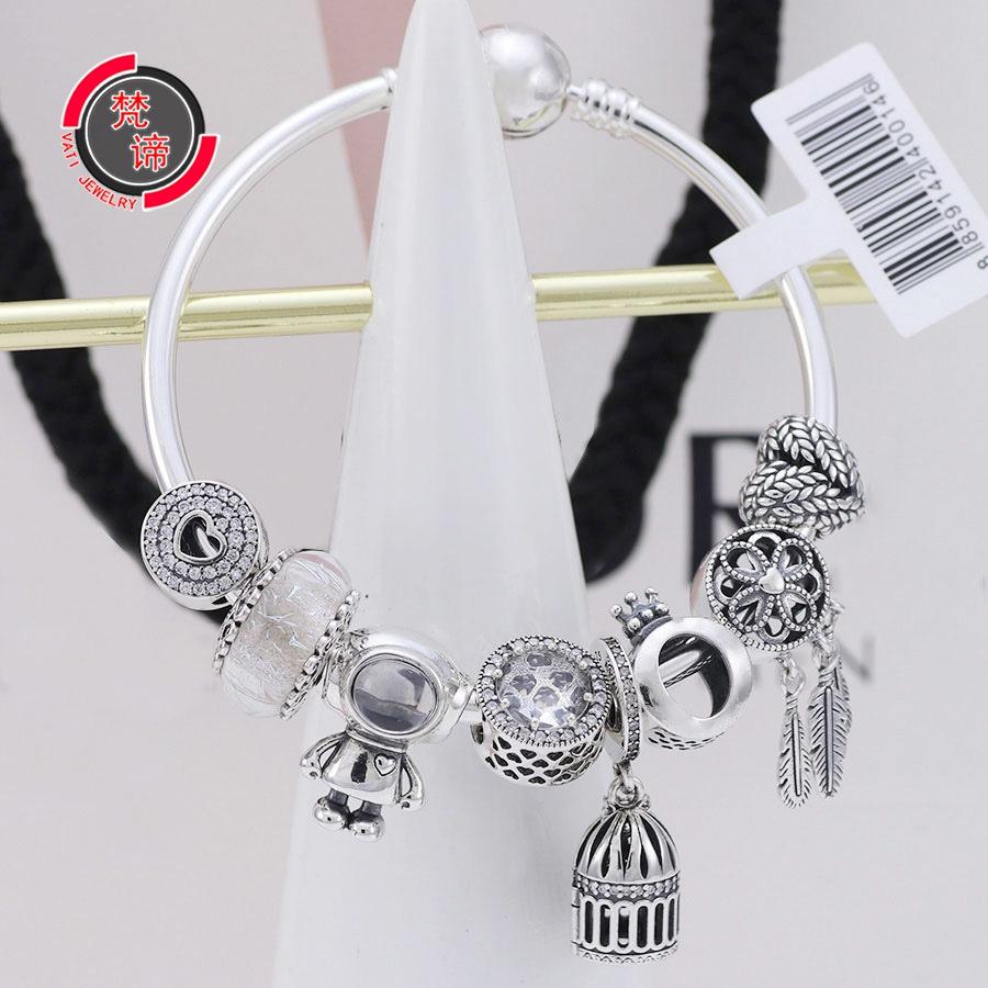梵潘多拉帝潘家手镯925纯银宇航员串珠可开合鸟笼吊坠圆头手环