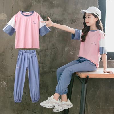 6女童夏装套装2020新款洋气网红8女孩大童12岁运动夏季短袖长裤10