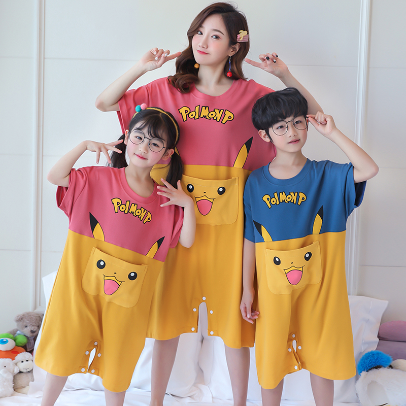 Parents and childrens spring and summer thin household clothes boys cute cartoon mothers pure cotton pajamas girls one-piece sleeping bag