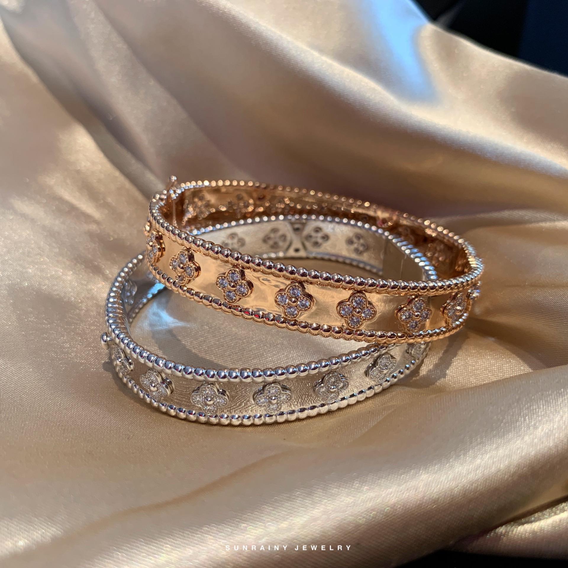 正品Sunrainy万花筒手镯 重工925进口满钻珠边镀18k情侣手环