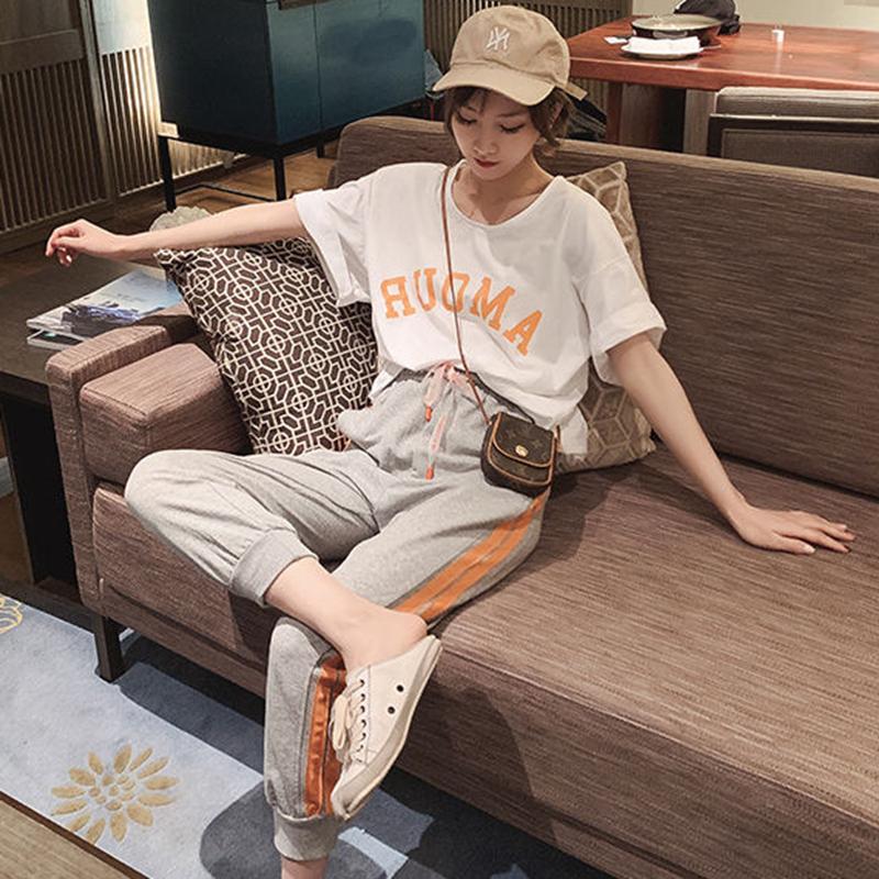 夏季套装2020年新款女初中生时尚运动风夏装中学生休闲时尚两件套