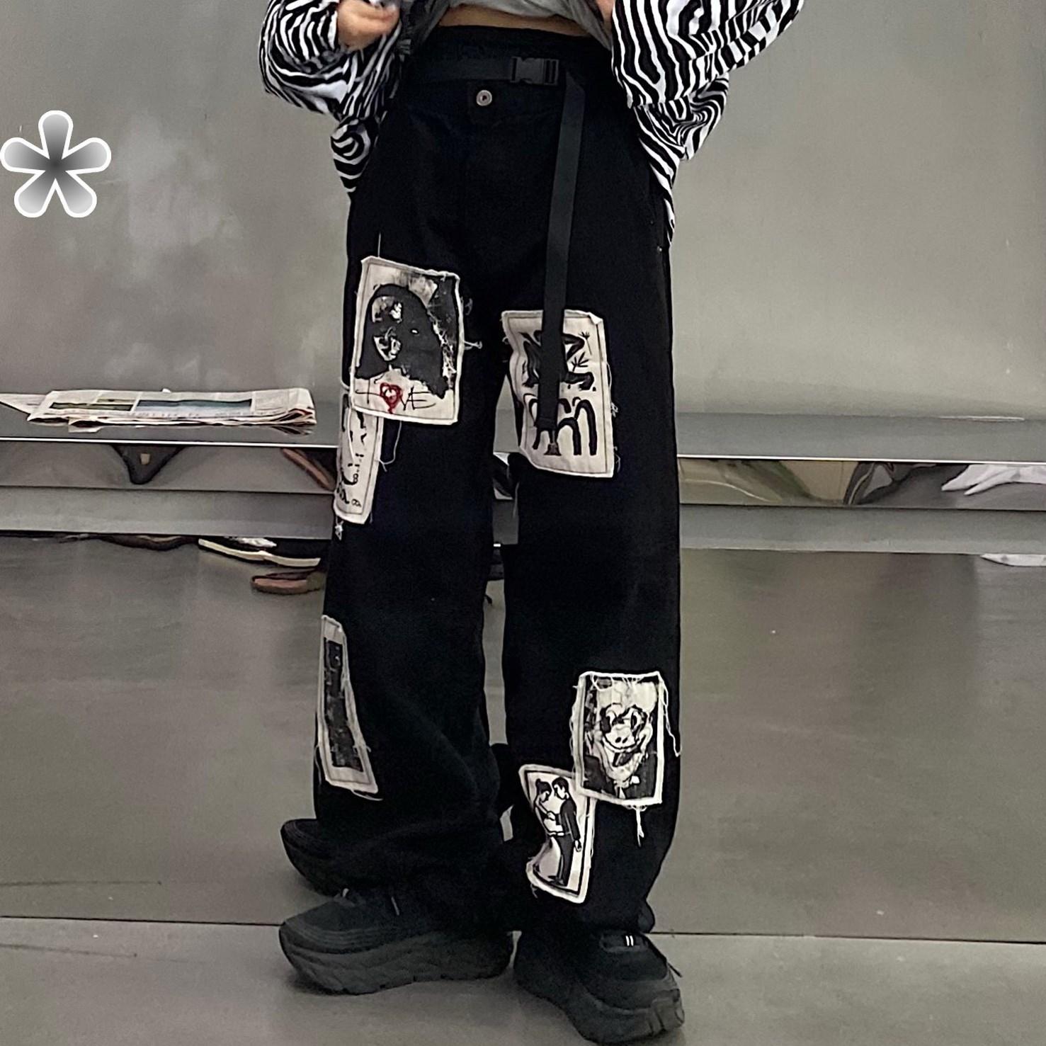 x不是好人 日系复古贴布牛仔裤男女同款宽松直筒街头帅气bf风裤子