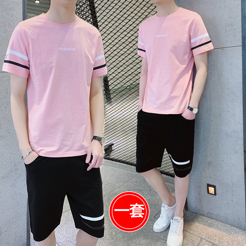 Summer suit mens 2020 new Korean fashion handsome sports casual two-piece boys fashion brand ins clothes