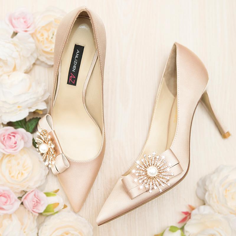 Champaign silk satin wedding dress high heeled shoes female pointed stiletto Flower Rhinestone white fairy bride wedding shoes