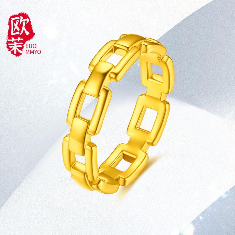 黄金链条戒指5d硬金简约无氰亮面ins风几何锁链素圈情侣对戒指环