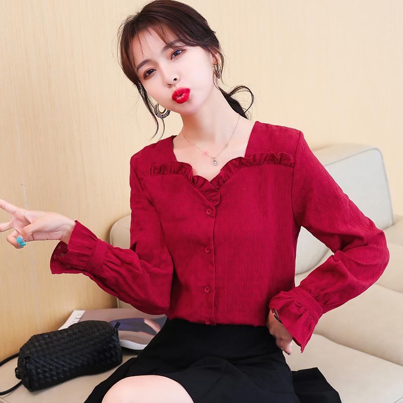 红色长袖衬衫女2020年秋装新款V领荷叶边泡泡袖提花纯棉衬衣上衣