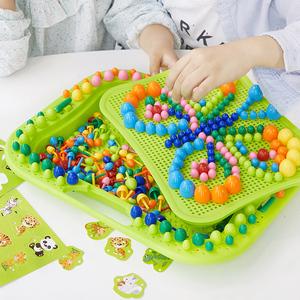 领5元券购买蘑菇钉益智玩具拼图幼儿童插1-3-6周岁4男女孩5早教2宝宝智力开发