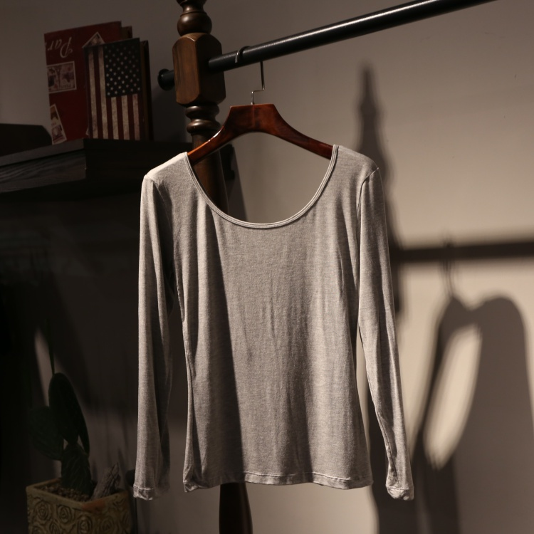 超薄打底Q衫女低领保暖大领紧身超上衣紧身纯白色低胸内衣薄欧洲
