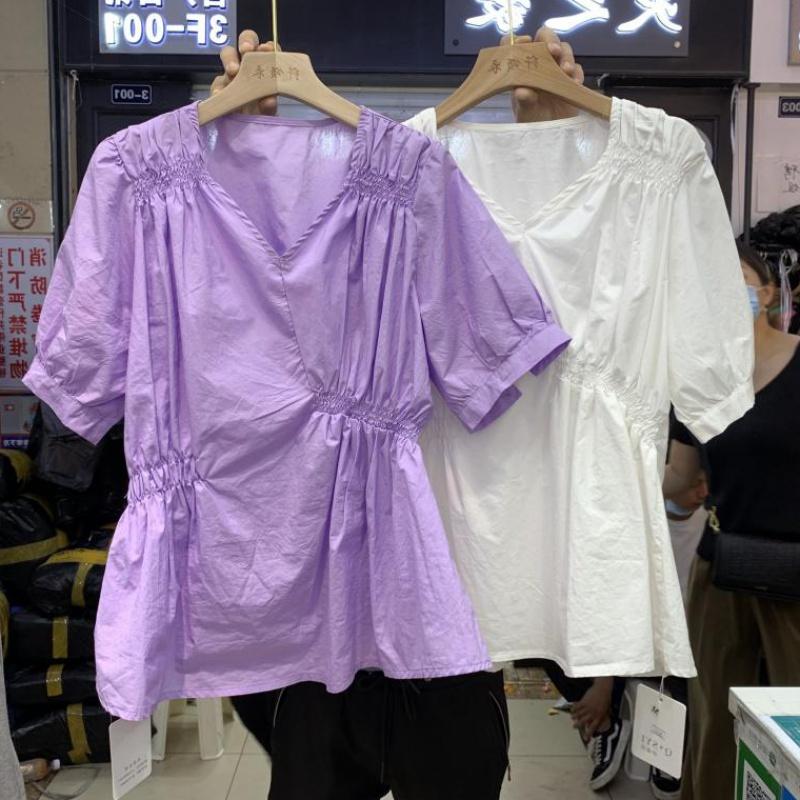 Han fanins loose 20 summer new V-neck irregular elastic pleated pullover shirt with waist closing temperament