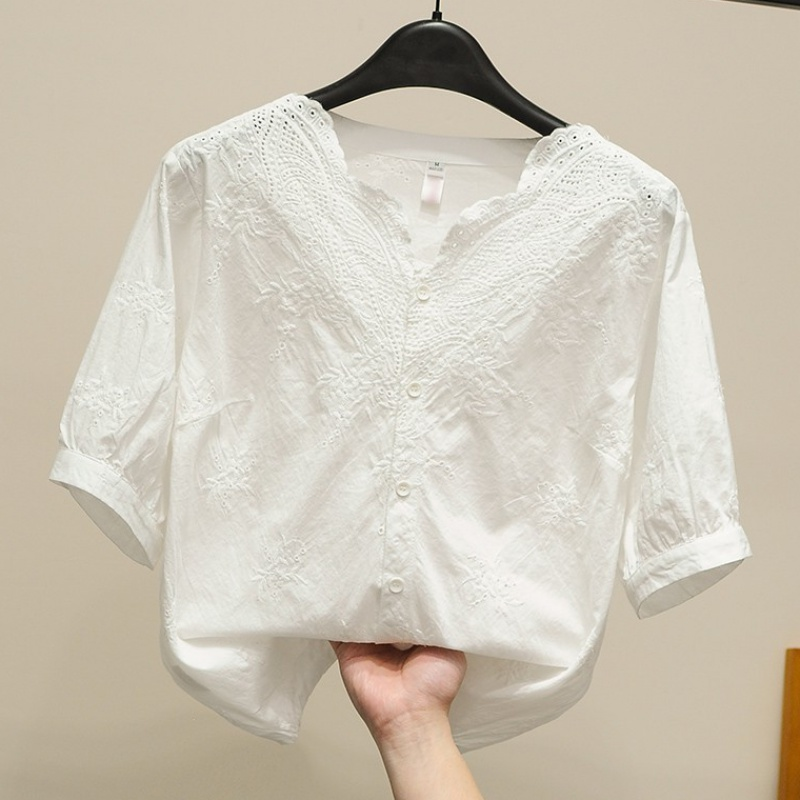 White shirt womens short sleeve 2020 summer dress sweet hollow embroidery lace shirt V-neck loose top Fairy