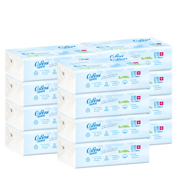 可心柔V9婴儿纸巾保湿柔纸巾 宝宝手口专用云柔巾整箱100抽*12包