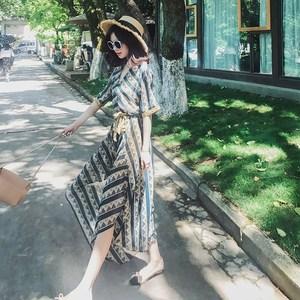 2020泰国显瘦超仙海边度假三亚马尔代夫沙滩裙雪纺碎花连衣裙夏女