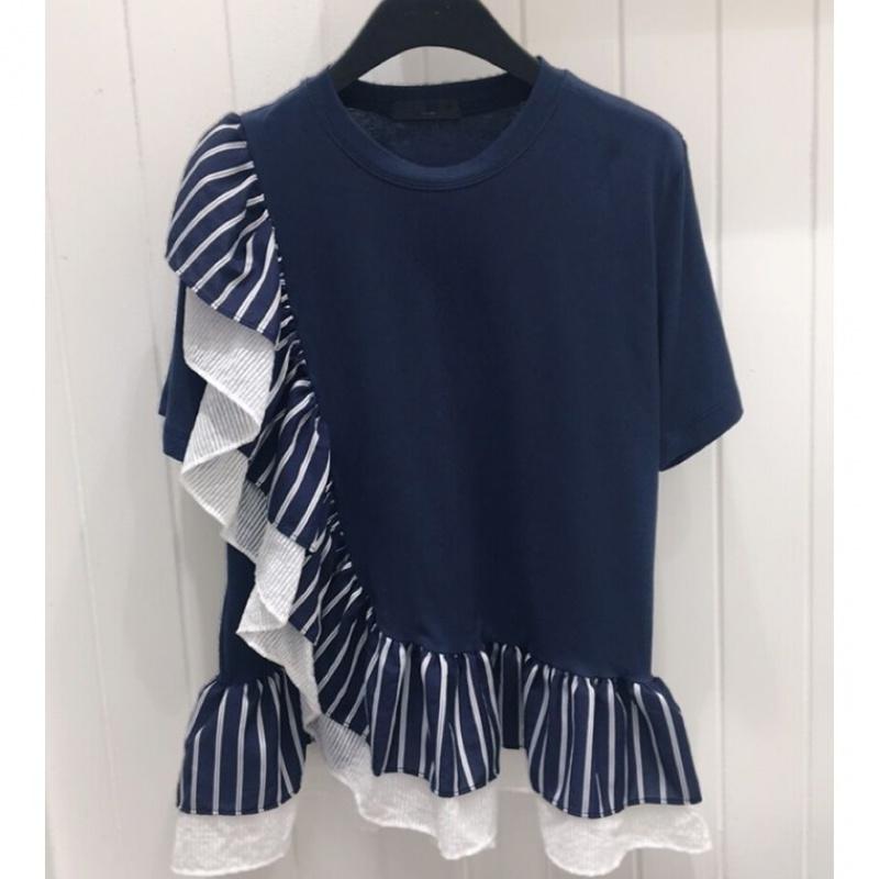 Ruffle stripe splicing short sleeve T-shirt for women 2020 summer new style irregular fashion design top