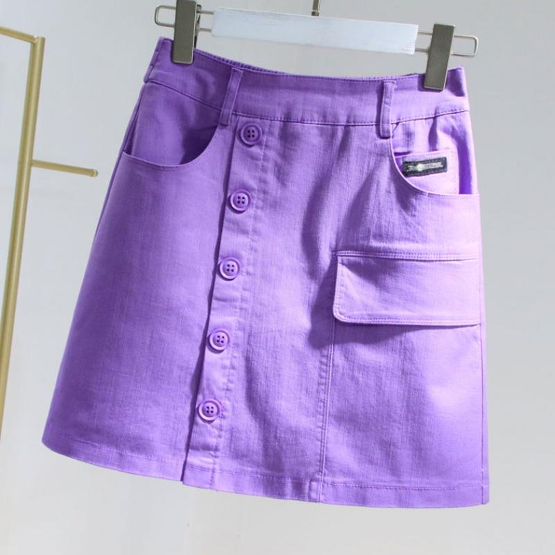 Denim skirt womens summer 2020 new slim breasted anti light purple hip skirt elastic waist A-line skirt